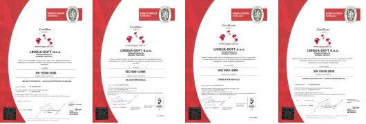 LINGUA-SOFT certifikati - politika kvalitete